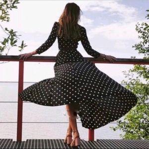 ZARA | Polka Dot Button Front Black Maxi Dress S
